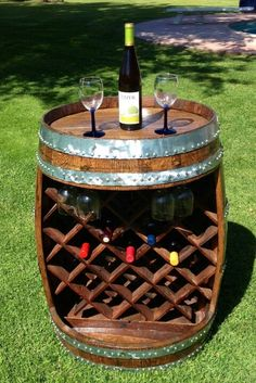 Wine barrel to wine rack and table. Great idea