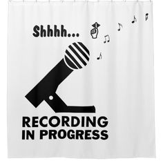 """Shop funny """"recording in progress"""" shower curtain created by UniqueGiftIdeas. Funny Shower Curtains, Custom Shower Curtains, Bathroom Shower Curtains, Bathroom Humor, Powder Room, Favorite Quotes, Personal Style, Singing, Spy"""