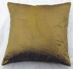 bronze feather throw pillow 16 inch silk cushion cover- STOCK CLEARANCE SALE