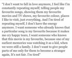 I don't want to fall in love anymore.
