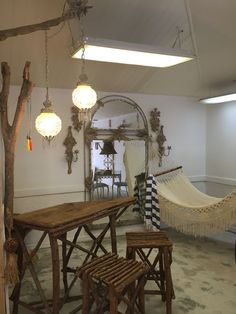 Hand Made Willow Wood Bar With Stools by SoAkiba on Etsy