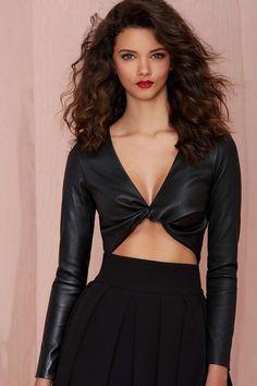 Missy Skins Heartbreaker Leather Crop Top