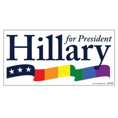 "Display your pride for Hillary Clinton with this Hillary Rainbow Bumper Sticker. Union-printed on ultra removable vinyl. Measures 3.75"" x 7.5"". Ships Next Business Day! If you need a larger quantity t"