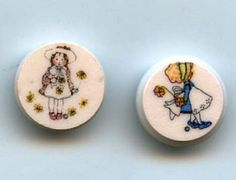 Holly Hobbie plastic buttons ..available in my ecrater store