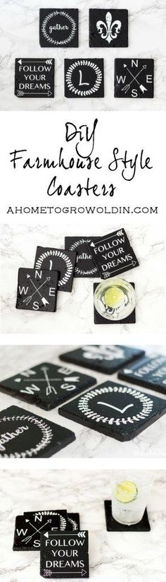 Check out these farmhouse style coasters!  It's such an easy DIY using…