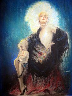 Charles Gates Sheldon (1889-1961) Gloria Swanson as Follies showgirl. 1915-20 Price: $3,500
