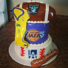 Raiders cake lakers cake dodgers cake
