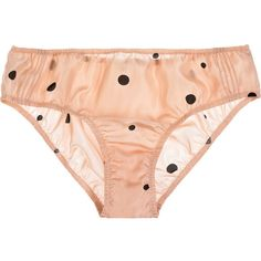 Marni Polka dot silk-satin briefs ($36) ❤ liked on Polyvore featuring intimates, panties, lingerie, underwear, undies, women, marni, pink polka dot panties, pink lingerie and scrunch panties