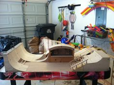 Miniature Skatepark almost complete - with staircase, wave ramp (rear) and skate shop to hang all Tech-Deck boards.