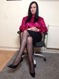 Magenta silk blouse and pencil skirt.