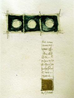 "Luisa Sartori, ""Seeds & Stars #17"", Ink, graphite, gold leaf on paper"