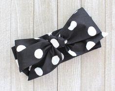 Monochrome polka dot headwrap