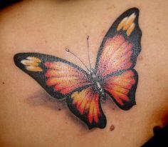 3D butterfly tattoo 44 - 65 3D butterfly tattoos  <3 <3