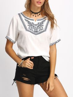 blouse avec broderie -French SheIn(Sheinside)