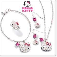 dbbff0231 HELLO KITTY TEXTURED COLLECTION-Textured silvertone with pink and  faux-stone accents. Available