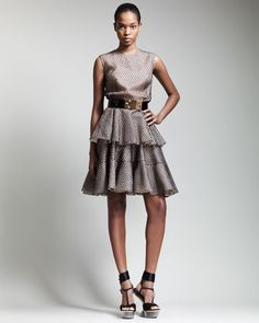 Tiered Lace Tulle Dress & Bee-Buckle Belt by Alexander McQueen at Bergdorf Goodman.