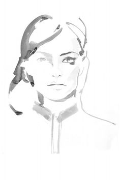 Watercolour fashion illustration - stylish portrait sketch; fashion drawing // Maya Beus