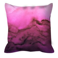 WINTER WAVES FUCHSIA Pink Purple Ombre Abstract Watercolor Art Decorative Throw Pillow Cover by EbiEmporium, #pink #ombre #fuchsia #magenta #purple #watercolor #homedecor #decoration #girly #colorful #girly #suede #suedepillow #pillowcover #throwpillow #bedroom #bedding #decorative #designer #ebiemporium