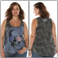 SALE NWT skull aviator burnout tank top Scoopneck. Studs are on part of the skull graphic.    qitrzoiq Rock & Republic Tops Tank Tops