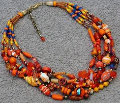 Orange statement necklace 6 strand hand-knotted beaded boho OOAK wearable art necklace or double wrapped bracelet