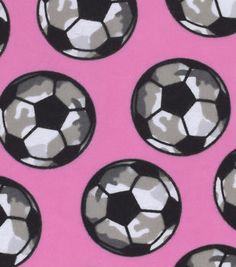 Snuggle Flannel Fabric 42''-Camo Soccer Balls on Pink