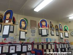 Portraits of signers of the Declaration of Independence.  The students wrote biographies, then drew and painted a portrait of the famous signer.