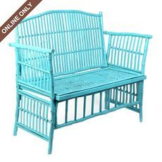 Turquoise Rattan Settee at Kirkland's - Not bag Rattan Furniture, Cool Furniture, Painted Furniture, Outdoor Furniture Sets, Patio Chairs, Outdoor Chairs, Outdoor Decor, Tropical Decor, Outdoor Seating