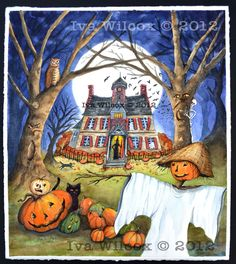 Original Halloween Watercolor16x20  by ivascreations/ Iva Wilcox