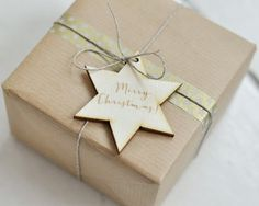 """Wooden christmas tag - with engraving """"Merry Christmas"""" - christmas packaging - gift tag - natural wood - engraved wording -laser cut shapes"""