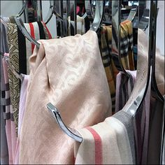 Burberry Bar-Mount Chrome J-Hook Outfitting – Fixtures Close Up Scarf Display, Retail Fixtures, Visual Merchandising, Knots, Burberry, Chrome, Tights, Nordstrom, Bar