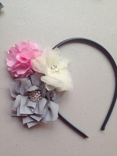Flower Headband Grey, light pink and ivory Lotus flower with rhinestone tulle Flower Mesh Flower - flower girl