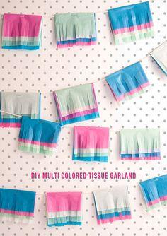 DIY Multi Colored Tissue Garland... Roll it to make paper garland tassels!!!