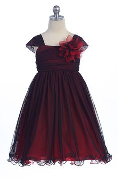 Red/Black Two Tone Soft Tulle Layered Flower Girl Dress with Short Sleeves - - Red Flower Girl Dresses ------ I want this! Just without the black. Red Flower Girl Dresses, Dark Red Dresses, Girls Black Dress, Little Girl Dresses, Pink Dress, Short Dresses, Girls Dresses, Flower Girls, Dress Attire