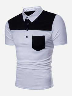 Camisa Polo Shirt Men Clothes 2018 Patchwork Short Sleeve Slim Fit Cotton Shirt Casual Streetwear Tops 2019 White M Camisa Polo, Mens Polo T Shirts, Polo Shirt, Shirt Men, Tee Shirt, Casual T Shirts, Men Casual, Clothes 2018, Men Clothes