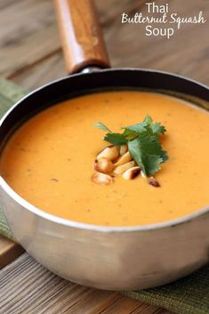 Thai butternut squash soup with squash, carrots, sweet potatoes, and onions blended for a smooth and creamy texture.