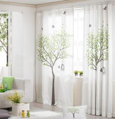 Green or Pink Window Curtains White Cotton Window by HereIsTheShop  sweet, and we would need to do black out behind as these are very translucent