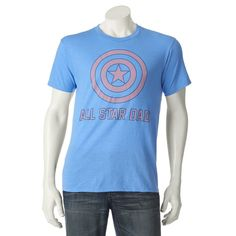 Men's Marvel Captain America All-Star Dad Tee, Size: Medium, Blue Other