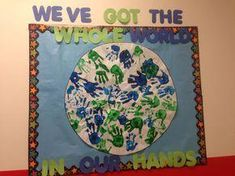 Around the world theme bulletin board Around The World Theme, We Are The World, Around The Worlds, Earth Day Projects, Earth Day Crafts, Preschool Bulletin, Preschool Activities, School Themes, Classroom Themes