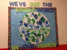 Around the world theme bulletin board Around The World Theme, We Are The World, Around The Worlds, School Themes, Classroom Themes, Classroom Organization, Classroom Door, School Ideas, World Bulletin Board