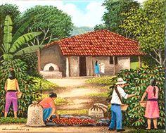 Sorting the Coffee by Edmundo Otoniel Mejia Mural Painting, Love Painting, Figure Painting, Simple Acrylic Paintings, Colorful Paintings, Animal Drawings, Art Drawings, Caribbean Art, Turkish Art