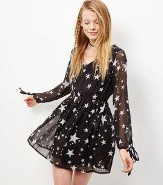 Mela Black Star Print Dress