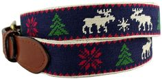 Christmas Sweater Needlepoint Belt in Navy by Smathers & Branson. I want this belt!