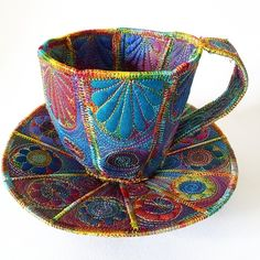 This is a handmade machine stitched textile cup and saucer. Made from layers of fabric including silk and hand dyed Egyptian cotton, using the free machine embroidery style of sewing Size approximately cup x saucer x Textile Design, Textile Art, Textile Sculpture, Fabric Bowls, Creative Textiles, Free Machine Embroidery, Polymer Clay Art, Felt Art, Couture