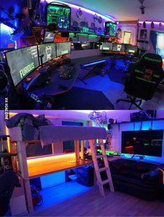 Upgraded the man cave today! Game Room Design, Man Cave Ideas Gamer, Geek Man Cave, Man Cave Room, Man Cave Bar, Man Cave Basement, Gaming Rooms, Gaming Room Setup, Pc Setup