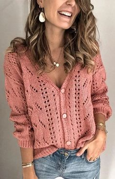 Sleeve Length:Long Sleeve Necklace:V-Neck Pattern:Solid Material:Polyester,Cotton Blend Season:Fall,Winter Occasion:Daily,Casual V Neck Cardigan, Crochet Cardigan, Crochet Lace, Crochet Shrugs, Cardigan Sweaters, Crochet Granny, Vintage Crochet, Crochet Bikini, Neck Pattern