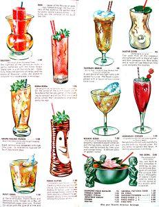 Vintage Menu, Vintage Tiki, Bar Drinks, Alcoholic Drinks, New Orleans Drinks, Drink Names, Vintage Cocktails, Tiki Art, Beach Meals