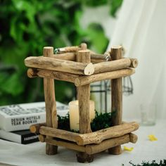 diy centerpieces candles Rustic Multipurpose Wooden Lantern Centerpiece Hanging Candle Holder With Rope Handles