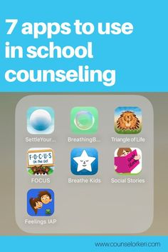 7 apps to use in school counseling - great for breathing exercises, calming, relaxation, social stories, and more!