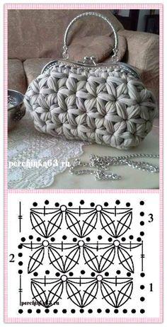 Best 12 Souvenir gehäkelter Turban – The Frog Tricote … – leoira mini Strickerei - Crochet Crochet Stitches Patterns, Purse Patterns, Crochet Chart, Diy Crochet, Sewing Patterns, Crochet Handbags, Crochet Purses, Crochet Clutch, Crochet Circles