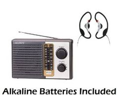 """Sony 2 Band Receiver Portable AM & FM Transistor Radio with Large Dial Panel, 3.75"""" Speaker, Earphone Jack, Carry Strap, Easy Tuner Knob, Telescopic Ferrite Bar Swivel Antenna, Headphone Jack & Soft Loop Active Style On The Ear Stereo Headphones - Battery Powered - Batteries Included by Sony. $29.95"""
